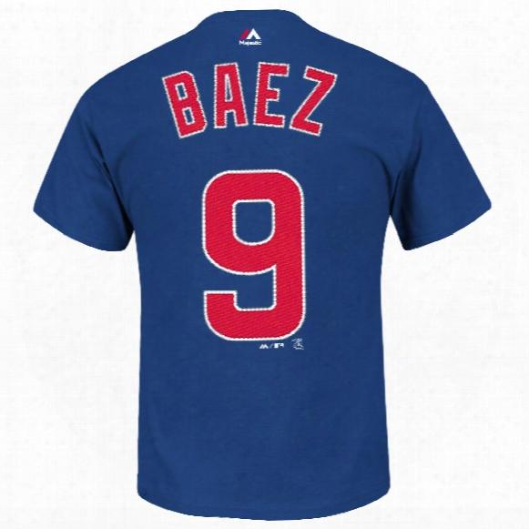 Chicago Cubs Javier Baez Mlb Player Name & Number T-shirt (deep Royal)