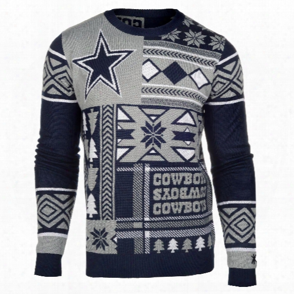 Dallas Cowboys Nfl 2015 Patches Ugly Crewneck Sweater