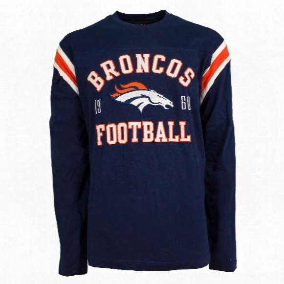 Denver Broncos Nfl Lateral Felt Applique Long Sleeve Jersey T-shirt