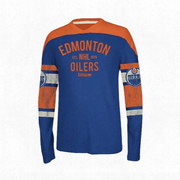 Edmonton Oilers Ccm Retro Ls Applique Crew