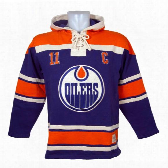 Edmonton Oilers Mark Messier Vintage Alumni Lacer Heavyweight Hoodie