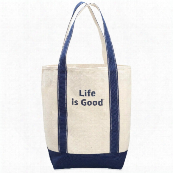 Life Is Good Carry On Canvas Tote (painted Blue)