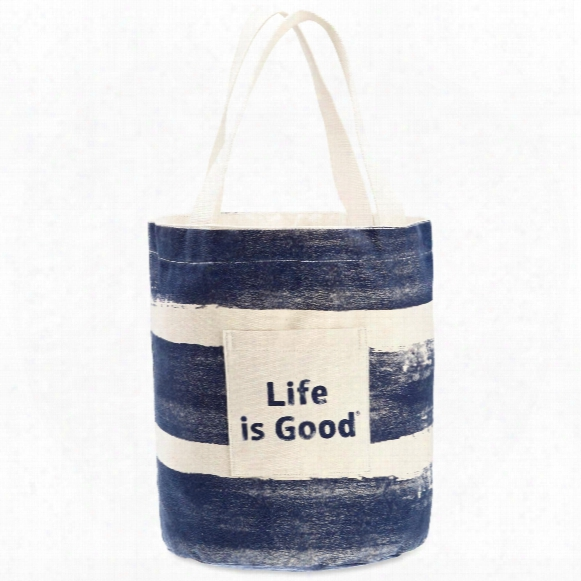 Life Is Good Stand Tall Beach Tote (stripe Blue)