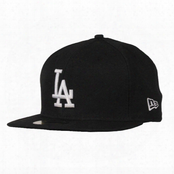 Los Angeles Dodgers Authentic Fitted Mlb Baseball Cap (black-white)