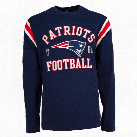 New England Patriots Nfl Lateral Felt Applique Long Sleeve Jersey T-shirt