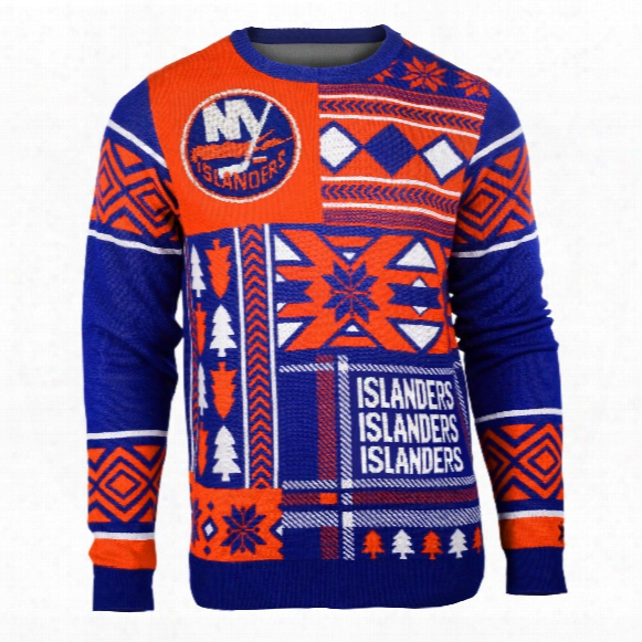 New York Islanders Nhl 2015 Patches Ugly Crewneck Sweater