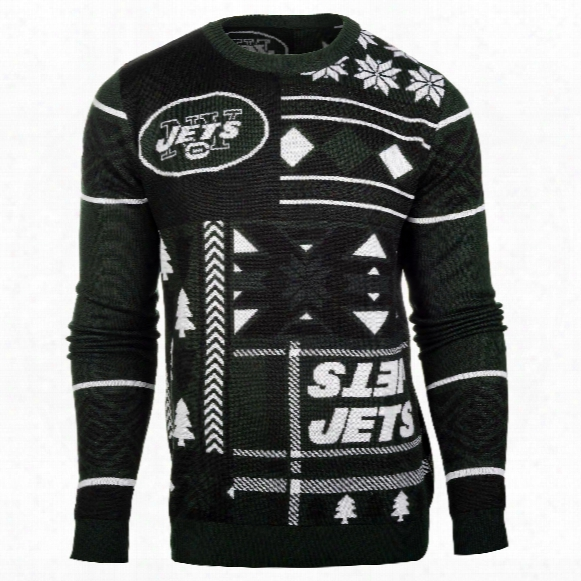 New York Jets Nfl 2015 Patches Ugly Crewneck Sweater