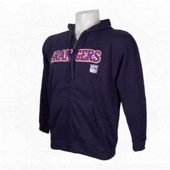 New York Rangers Washed Letters Full Zip Hoodie