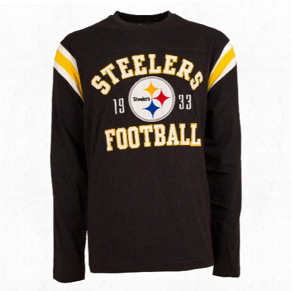 Pittsburgh Steelers Nfl Lateral Felt Applique Long Sleeve Jersey T-shirt