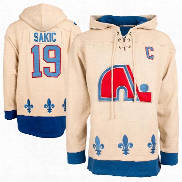 Quebec Nordiques Joe Sakic Vintage Heavyweight Jersey Lacer Hoodie