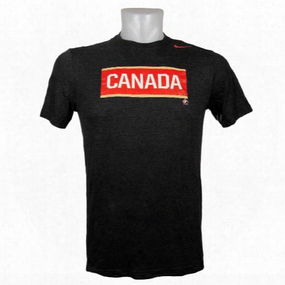 Team Canada Iihf Tri-blend Olympic Logo T-shirt (black Heather)