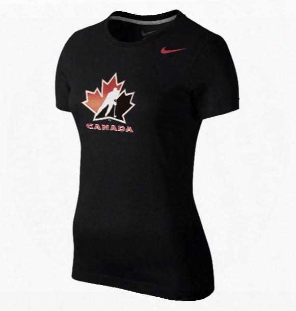 Team Canada Women's Iihf Cotton Crew T-shirt (black)