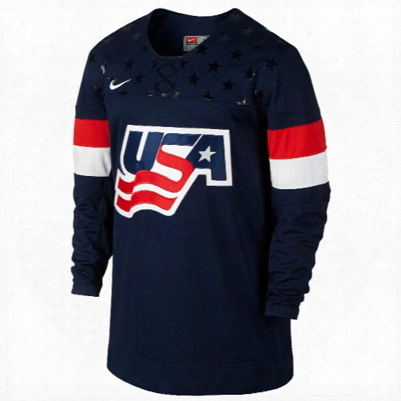 Team Usa Iihf Twill Replica Navy Hockey Jersey