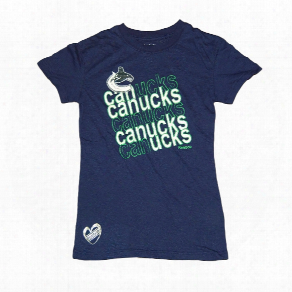 Vancouver Canucks Girls Sparkle Burnout T-shirt