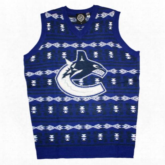 Vancouver Canucks Nhl 2015 Ugly Knit Vest Sweater