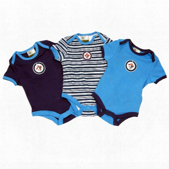 Winnipeg Jets Baby 3-pc Solid And Stripes Creeper Set