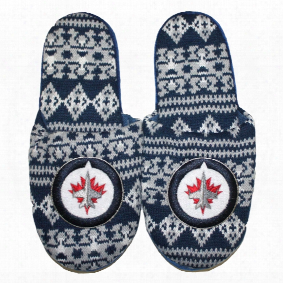 Winnipeg Jets Men's Aztec Knit Slippers