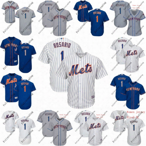 1 Amed Rosario 2017 New York Mets Jersey Men Youth Women Amed Rosario All Stitched Embroidery Baseball Jersey