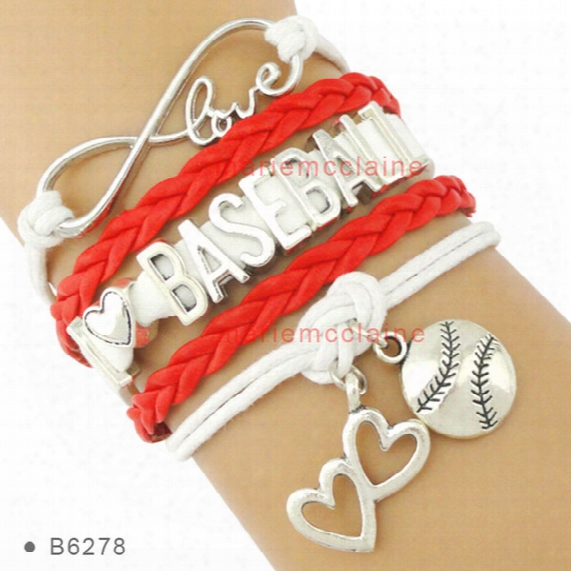 (10 Pieces /lot) Infinity Love I Love Baseball Soccer Softball Tennis Football Bracelet Heart To Heart Charm Bracelet Leather Custom Bracele