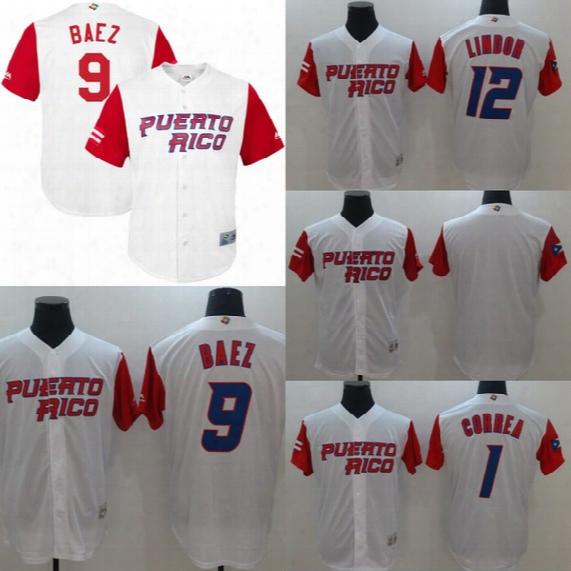 #12 Francisco Lindor Jersey 2017 Puerto Rico World Baseball Classic Wbc Jersey 1 Carlos Correa 4 Yadier Molina 9 Javier Baez Jerseys