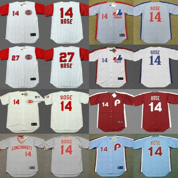 #14 Pete Rose Cooperstown Throwback Baseball Jerseys Cincinnati Reds 1960 1963 1969 1975 Montreal Expos 1984 Philadelphia Phillies 1979 1980