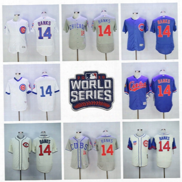 1968 Cooperstown 14 Ernie Banks Jersey Chicago Cubs Flexbase Baseball Jerseys 2016 World Seires Postseason Pinstripe White Blue Pullover