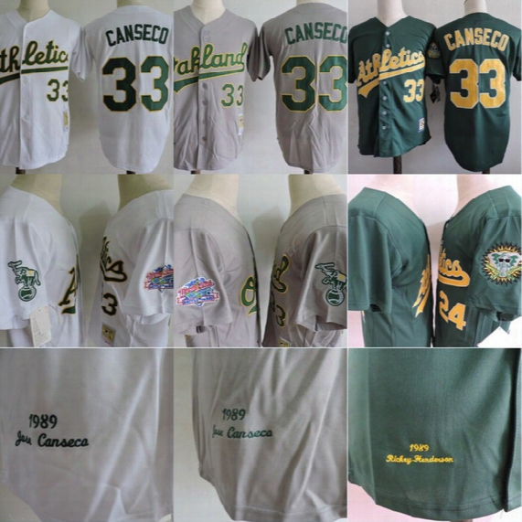 1989 World Series Patch Oakland Athletics #33 Jose Canseco Jersey Mens 100% Stitched Embroidery Logos Throwback Baseball Jerseys