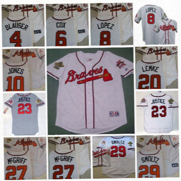 1995 World Series Atlanta Braves Jersey 30th Patch 23 David Justice 4 Jeff Blaser 6 Bobby Cox Javier Lopez Chipper Jones Baseball Jerseys