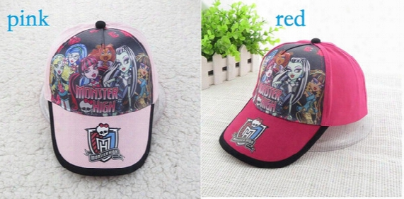 2 Colors 500pcs New Baby Hats Children Girls Cotton Cap Kids Cartoon Monster High Print Sunshine Hat Baseball Cap 3-8 Years
