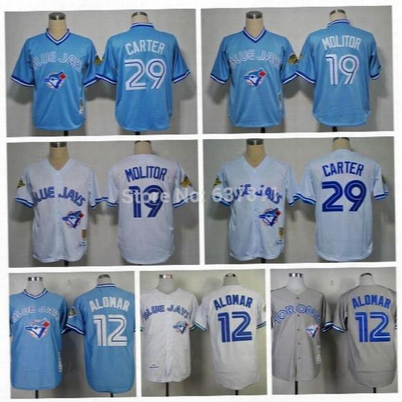 2015 Mens Womens Kids Toronto Blue Jays Throwback 19 Paul Molitor 12 Roberto Alomar 29 Joe Carter Blue White Grey Retro Stitched Jersey