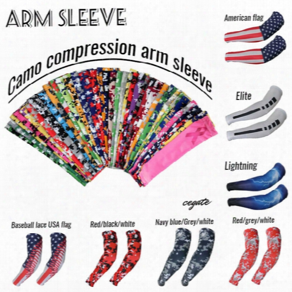 2016 New! Compression Arm Sleeve Sport Baseball Football Basketball Camouflage More Than 128 Kinds Of Colors