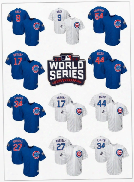 2016 World Series Patch Men Chicago Cubs 54 Chapman 9 Javier Baez 17 Kris Bryant 44 Rizzo 34 Lester Russell Baseball Jerseys Stitched M-3xl