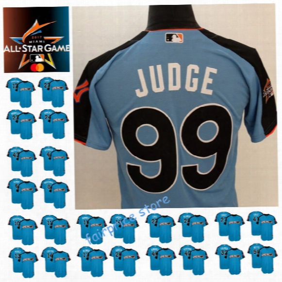 2017 All-star Men's American League Aaron Judge Francona Lindor Mike Trout Jose Ramirez Mookie Bett Carlos Correa Blue Baseball Jerseys