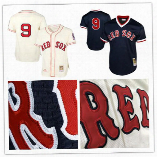 2017 Boston Red Sox #9 Ted Williams Mitchell & Ness Cream Mlb Authentic Jersey Blue 1990 Authentic Cooperstown Collection Stitched Jersey