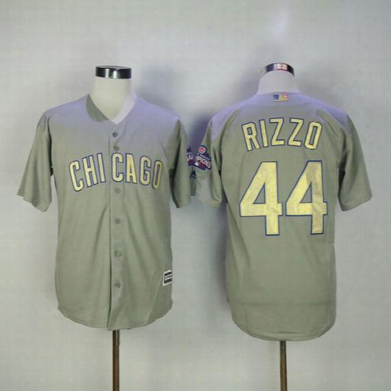 2017 Chicago Cubs Gold World Series Champions Jersey Grey Joe Maddon Jake Arrieta Anthony Rizzo Addison Russell Kris Bryant Javier Baez