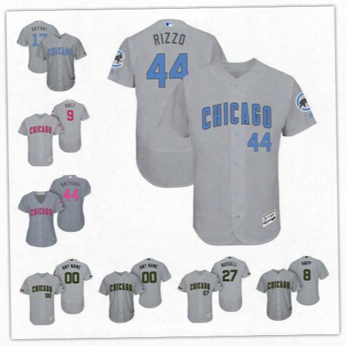 2017 Chicago Cubs Gray White Father's Day Mother's Day Memorial Day Flex Base Cool Base Jerseys Customed Any Name Any Number Size S-6xl