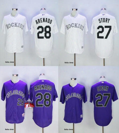 2017 Colorado Rockies Jerseys 28 Nolan Arenado 27 Trevor Story 17 Todd Helton White Blue Purple Baseball Jersey Flexbase Mlb Stitched