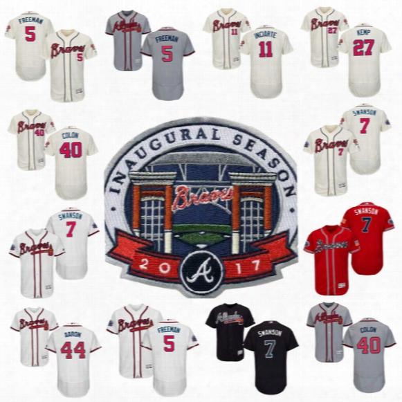 2017 Commemorative Patch Atlanta Braves 7 Dansby Swanson #40 Bartolo Colon 5 Freddie Freeman Matt Kemp 44 Hank Aaron Ender Inciarte Jersey