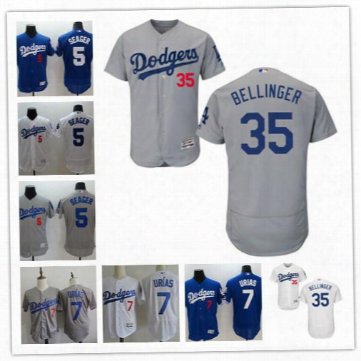 2017 Flex Base Mens Los Angeles Dodgers #35 Cody Bellinger 5 Corey Seager 7 Julio Urias White Gray Royal Blue Stitched Baseball Jerseys
