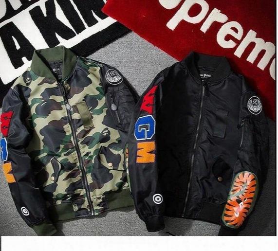 2017 Hoodies For Men Wgm Embroidery Shark Ma1 Flight Male Baseball Service Us Air Force Pilot Jacket Suprem