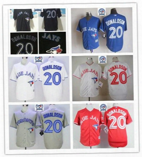 2017 Majestic Official Cool Base Mlb Stitched 40th Toronto Blue Jays 20 Josh Donaldson White Blue Red Gray Black Jerseys Mix Order