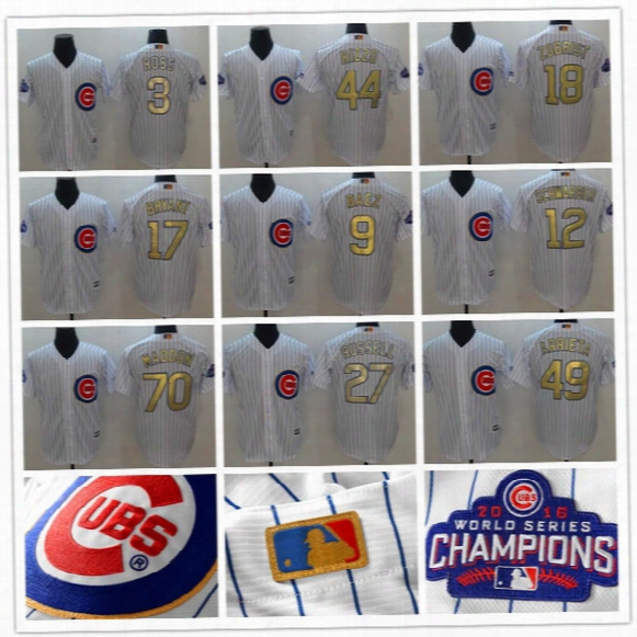 2017 Men's Chicago Cubs 17 Kris Bryant 44 Anthony Rizzo 9 Javier Baez 12 Kyle Schwarber World Series Champions Gold Game Baseball Jerseys