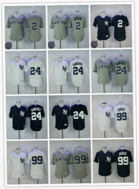 2017 Men's New York Yankees Jerseys 2 Derek Jeter 24 Gary Sanchez 99 Aaron Judge Navy Baseball Jerseys Free Shipping