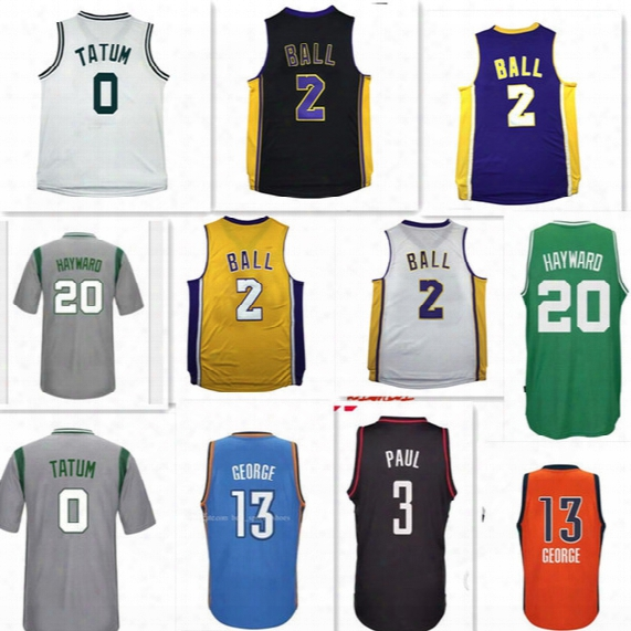 2017 New Lonzo Ball Gordon Hayward Jersey Jayson Tatum Paul George Jackson Jersey Men Chris Paul Deaaron Fultz Embroidery Jersey