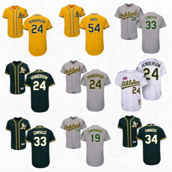 2017 Oakland Athletics Jersey 24 Ricky Henderson #33 Jose Canseco 54 Sonny Gray Home Away Stitched Baseball Jerseys Tol Quality