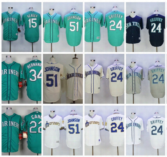 2017 Seattle Mariners Baseball Jersey Throwback 24 Ken Griffey Jr 51 Randy Johnson 34 Felix Hernandez 22 Robinson Cano 15 Kyle Seager Jersey