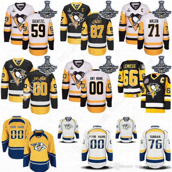 2017 Stanley Cup Champions Pittsburgh Penguins Hockey Jerseys Jake Guentzel Sidney Crosby Evgeni Malkin Mario Lemieux Pk Subban Jersey Cheap