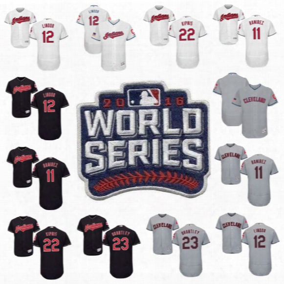 2017 Stars & Stripes 11 Jose Ramirez Cleveland Indians 12 Francisco Lindor 22 Jason Kipnis 23 Michael Brantley World Series Baseball Jerseys