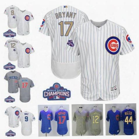 dcf3c7176e6 2017 World Series Champions Men  039 s Chicago Cubs Gold 9 Javier Baez 12