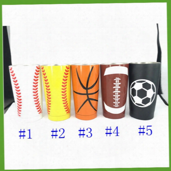 20oz Baseball Cup Rambler Tumbler Mugs 304 Stainlless Steel Vacuum Insulation Cup Beer Bar Dining Mugs Travel Cups